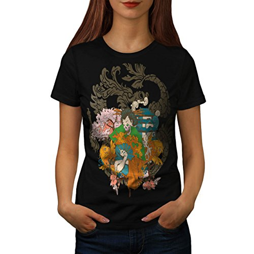 [Horror Geisha Skull Evil Japan Women S T-shirt | Wellcoda] (Gothic China Doll Costume)