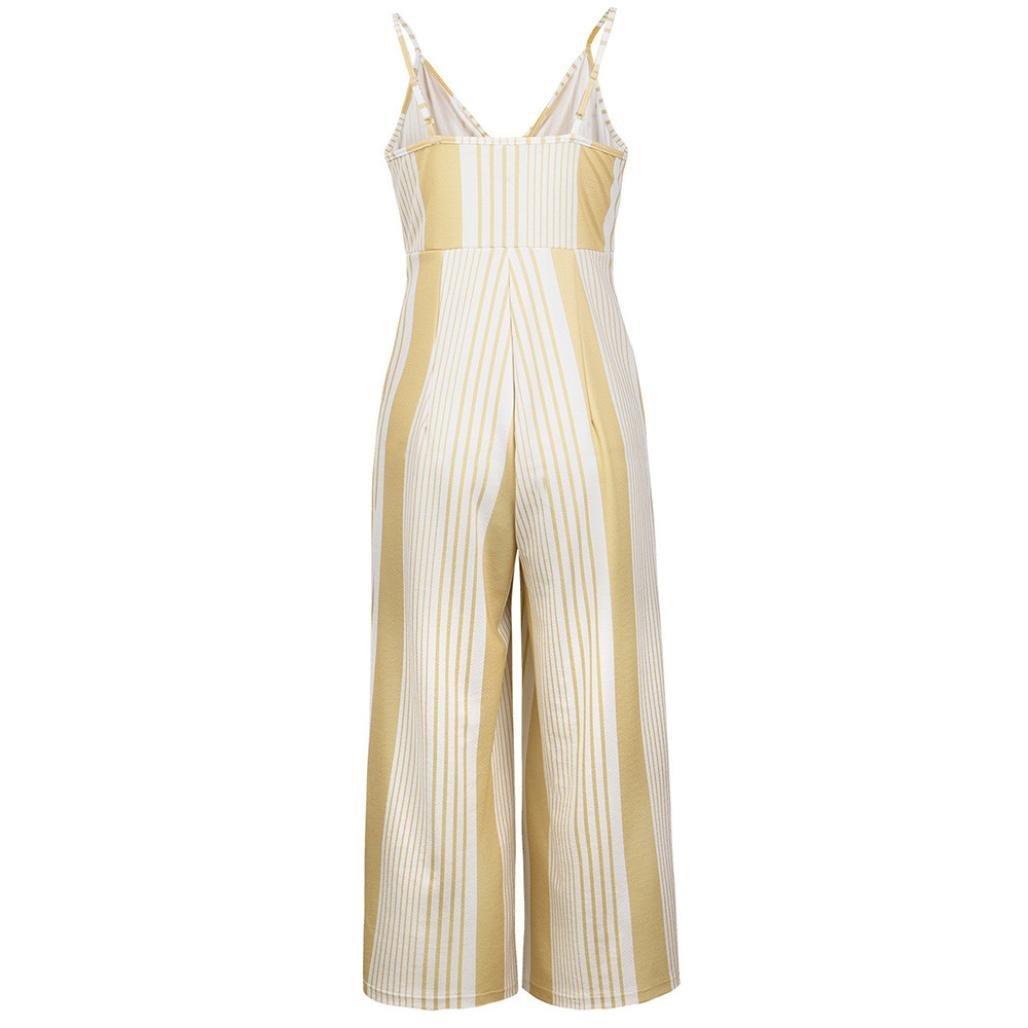 695cc7a4b8f Amazon.com  NEWONESUN 2018 Women Strap Striped Print High Waist Jumpsuits  Loose Playsuit Leg Long Trousers Ladies Outfits  Clothing