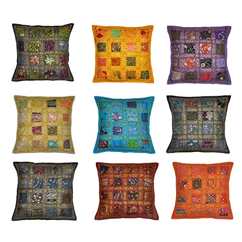 5billion Set of 10 Indian Handmade Vintage Embroidery Sari Patchwork Cushion Cover Decorative Pillow Cover 40 x 40 cm