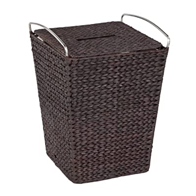 Creative Bath Metro Hamper with Liner, Espresso - Bath and decorative storage in rich blend of Woven Natural fiber with stainless steel handles 1 hamper with liner Espresso finish - laundry-room, hampers-baskets, entryway-laundry-room - 51 fNmoG4fL. SS400  -