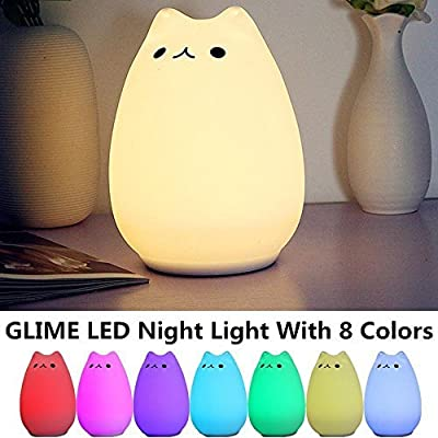 GLIME Children Kids Night Light LED Cat Silicone Toy Nightlight for Baby Nursery Bedrooms Best Gifts Bedside Lamps with Tap Control/ 3 Lighting Modes/ 8-Colors/ USB Rechargeable