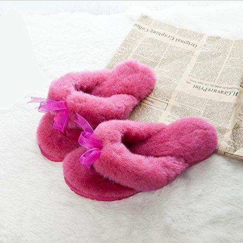 Mhgao Caldo Inverno Casa Pantofole Di Pelliccia Rossa In Rosa E A Autunno Signore Pantofole Pecora In Sfocati Ucq7UwWr1