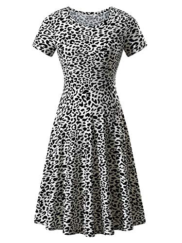 HUHOT Print Dress,Women Short Sleeve Round Neckline Leopard Dress Fashion Fall Dress(18028-16,L) (Skirt Leopard Stretch)