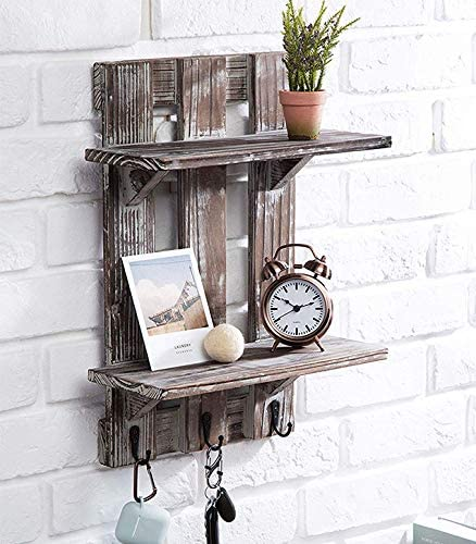 J JACKCUBE DESIGN Rustic Wall Mounted Shelves- Wood Floating Pallet Shelves with 3 Hooks, Wall-Mounted and Antique Brown 2 Tier Rack Decorative Collection Display Vintage Organizer-MK523A