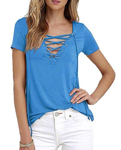 Bandage Chemisier V Minetom T Sexy Blouses Courtes Bleu Femme Encolure Shirt Lacets Manches Tops C77q1z