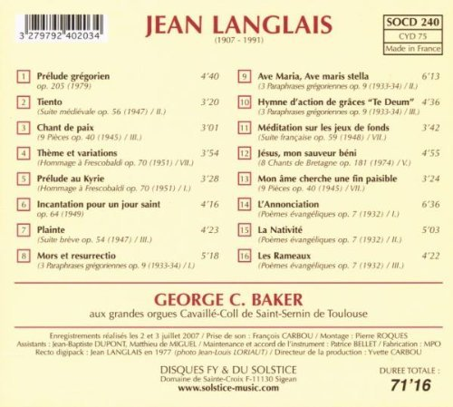 Langlais - Organ Works by Jean Langlais