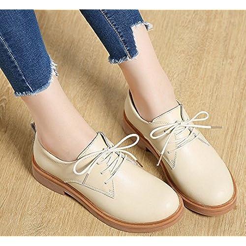 e21f2e59 Kotzeb Zapatos con Cordones para Mujer Oxford Plataforma 3 CM de Faux Piel  Casual Moda Student