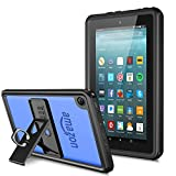 Temdan Fire HD 7 Tablet Waterproof Case with Adjustable Tablet Stand Built-in Screen Protector Rugged Waterproof Shockproof Case for HD 7(Fit 5th, 6th) Generation-Black/Clear