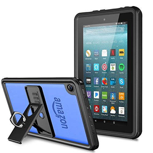 Temdan Fire HD 7 Tablet Waterproof Case with Adjustable Tablet Stand Built-in Screen Protector Rugged Waterproof Shockproof Case for HD 7(Fit 5th, 6th) Generation-Black/Clear ()
