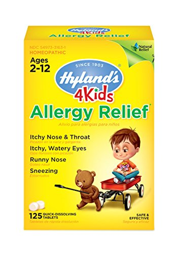 Kids Allergy Medicine by Hyland's 4Kids Non Drowsy Childrens Allergy Relief Quick Dissolving Tablets, Safe and Natural for Indoor & Outdoor Allergies, 125 Count ()