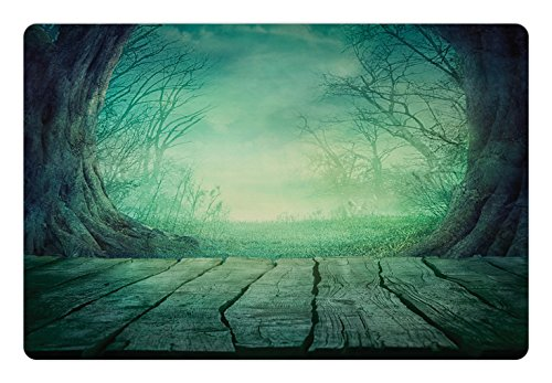 Lunarable Gothic Pet Mat for Food and Water, Spooky Scary Dark Fog Forest with Dead Trees and Wooden Table Halloween Horror Theme Print, Rectangle Non-Slip Rubber Mat for Dogs and Cats, Blue