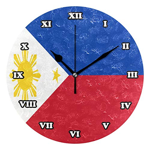 Nugier Philippines Flag Round Wall Clock Silent Non Ticking Custom Acrylic Painted Easy to Read Non-Ticking Home Art Bedroom Living Dorm Room Decor 9.45