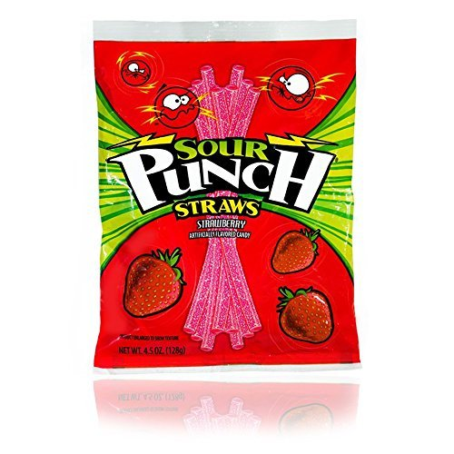 Sour Punch Strawberry Sour Straws 4.5oz Bag (12 (Sour Punch Straws)