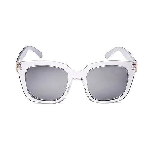 HONEY Sonnenbrille Für Herren Und Damen - Quadratischer Transparenter Rahmen - Reflektierend Objektiv ( Farbe : Grey lenses )