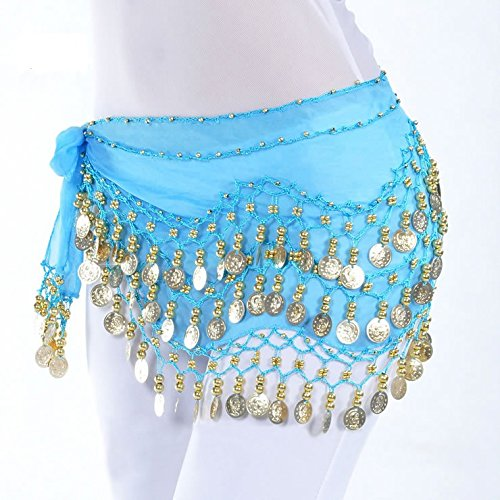 [Life VC Light Blue 128-Gold Coins Belly Dance Waist Costume Belt Skirt , Chiffon Dangling Belly Dance Sequins Hip Scarf (Great Gift] (Shock Treatment Costumes)