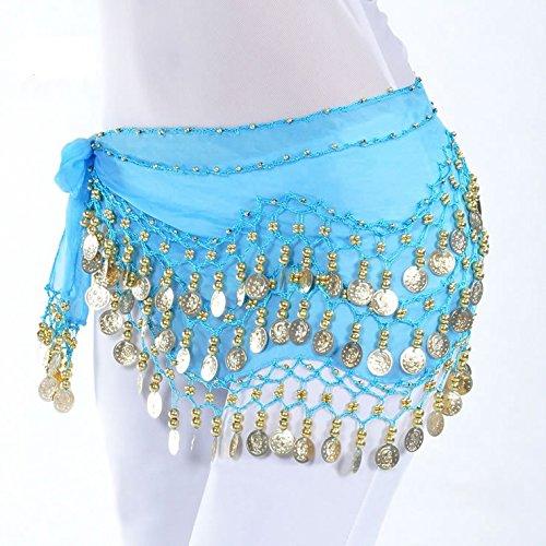 Dance Costumes Idea (Life VC Light Blue 128-Gold Coins Belly Dance Waist Costume Belt Skirt , Chiffon Dangling Belly Dance Sequins Hip Scarf (Great Gift Idea))
