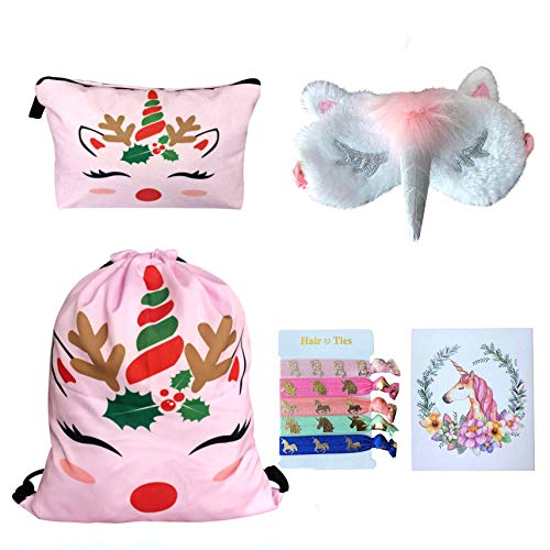 Unicorn Gifts for Girls - Unicorn Drawstring Backpack/Makeup Bag/Eye Mask/Hair Ties/Card (Pink Christmas Unicorn)