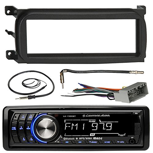 Lightning Audio LA-1500BT Bluetooth In-Dash Car Stereo Receiver Bundle Combo With Metra Dash Kit + Radio Wiring Harness + Enrock Antenna With Adapter Cable For 1998-Up Chrysler/Dodge/Jeep Vehicles