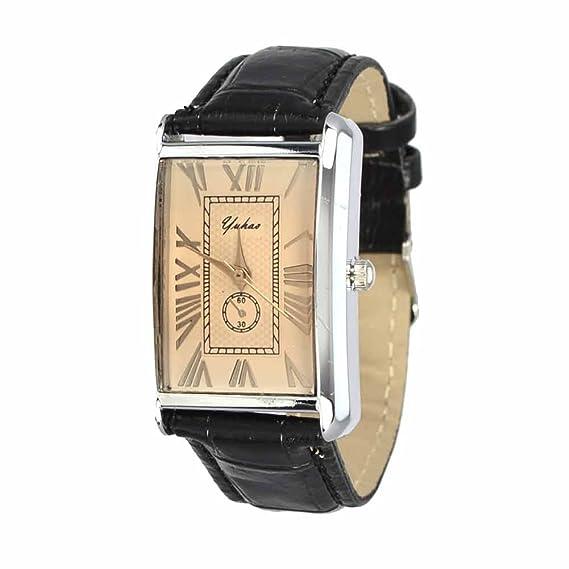 Reloj de Pulsera dial Rectangular números Romanos Acero Inoxidable impermeableJoya Reloj Mujer Quarzo analógico Negro Tilco