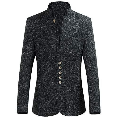 Clearance!Dressin_Men's Polid Button Stand Collar Single Row Buckle Long Sleeve Coat Outwear from Dressin_Men's Clothes