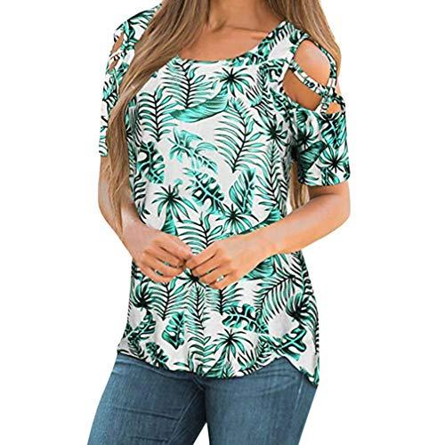(CUCUHAM Women Printed Crop Top Short Sleeve Tank Top T-Shirt Blouse(Y1-Green,M))
