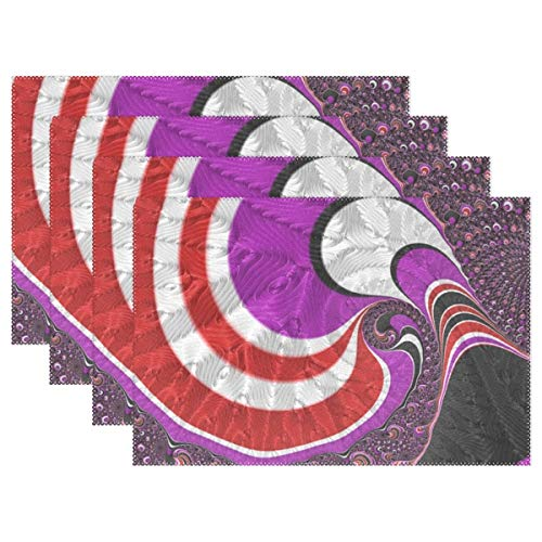 YPink Fractal Art Red Design Pattern Digital Fractal 1063131 Placemats Set of 4 Heat Insulation Stain Resistant for Dining Table Durable Non-Slip Kitchen Table Place Mats ()