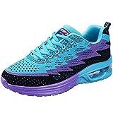 JARLIF Women's Lightweight Jogging Training Running Shoes Breathable Athletic Walking Tennis Sneakers (8.5 B(M), Blue)