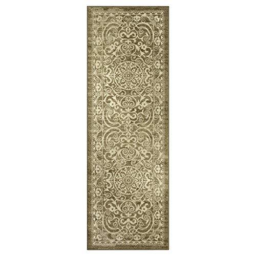 Maples Rugs Pelham Vintage Runner Rug Non Slip Hallway Entry Carpet [Made in USA], 2 x 6, Khaki