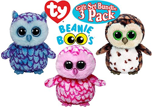 TY Beanie Boos Owl Gift Set Bundle Featuring Pinky, Sammy & Oscar - 3 Pack