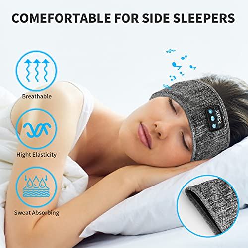 IFECCO Sleep Headphones Bluetooth Headband, Wireless Music Headband Headphones, Long Time Play Sport Headband Built-in Soft Ultra-Thin Stereo Speakers Perfect for Sleeping, Workout, Travel, Running