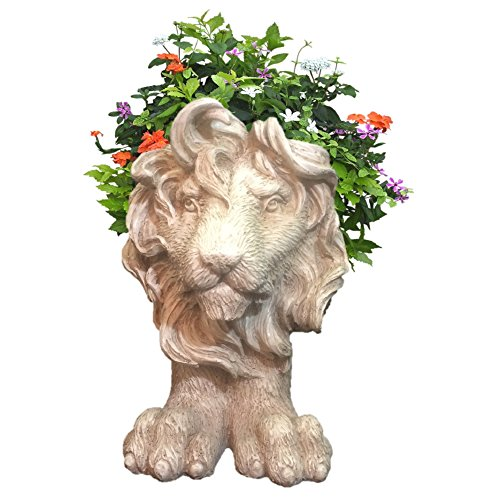 HomeStyles 13 in. Antique White Lion Muggly Mascot Animal Statue Planter Holds 5 in. - Lion Planter