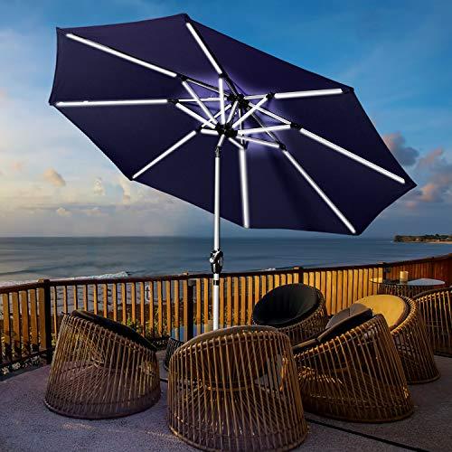 Aok Garden 9′ Patio Umbrella, Outdoor Solar LED Table Market Umbrella with Push Button Tilt/Crank 8 Ribs, Navy Blue