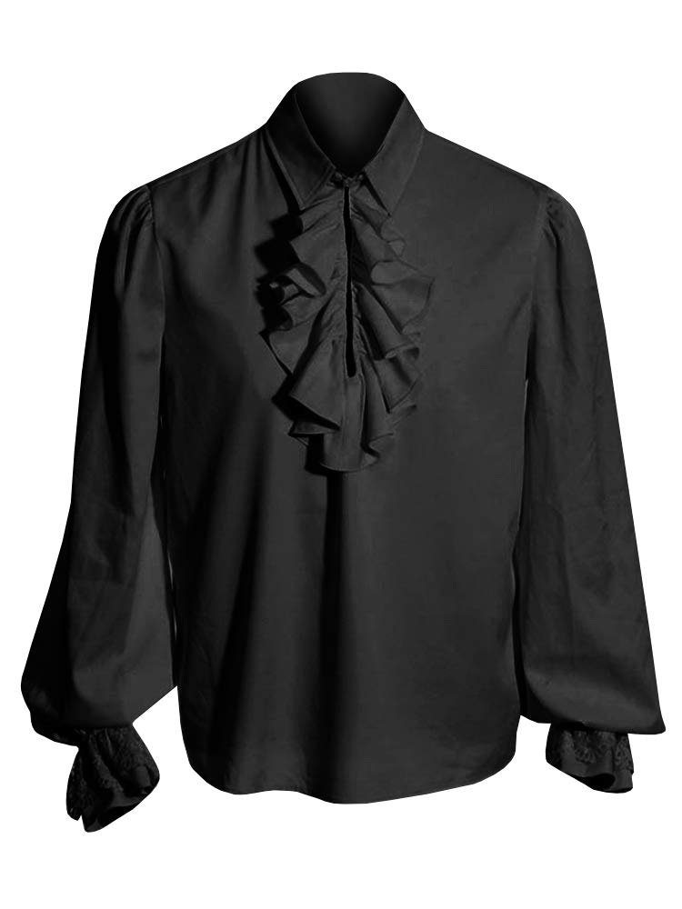 Pxmoda Men's Halloween Costumes Ruffled Gothic Steampunk Victorian Pirate Cosplay Shirts (2XL, Black)