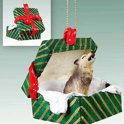 Conversation Concepts Timber Wolf Gift Box Christmas Ornament - Delightful!
