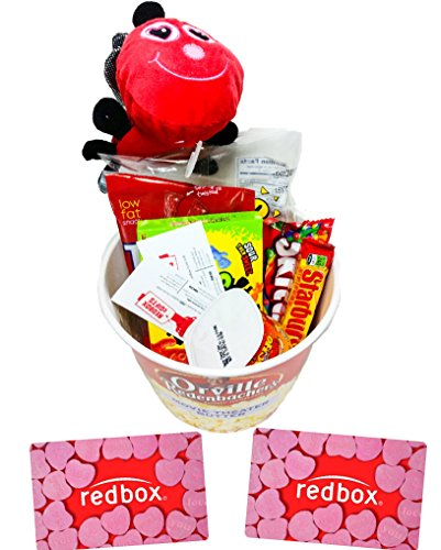 Valentines Day Movie Night Gift Basket ~ Includes Nachos and Cheese, Popcorn, Candy, Stuffed Love Bug and 2 Free Redbox Movie Rentals (Chewy) (Gift Baskets Love)