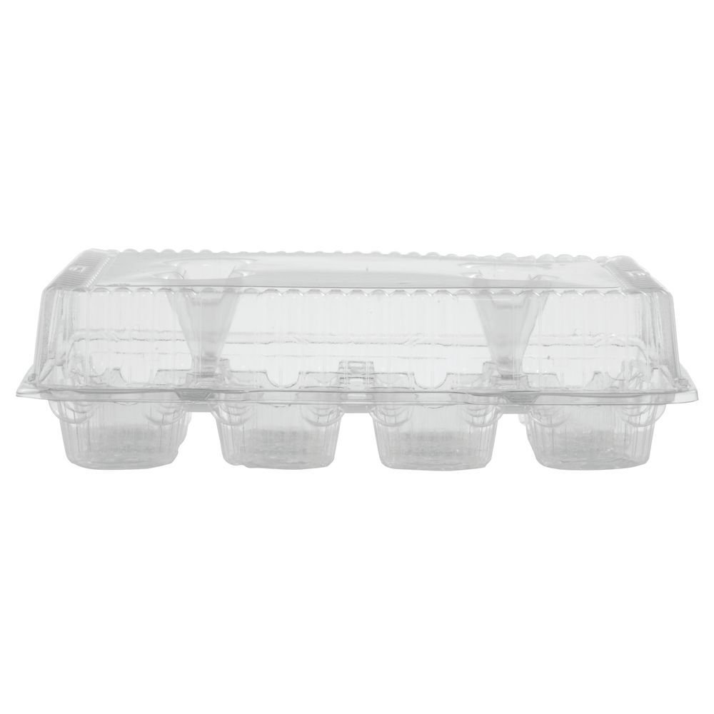 12-Count Cupcake Containers Hinged Plastic - 12 1/2''L x 10 1/2''W x 3 1/2''H 100 Per Case
