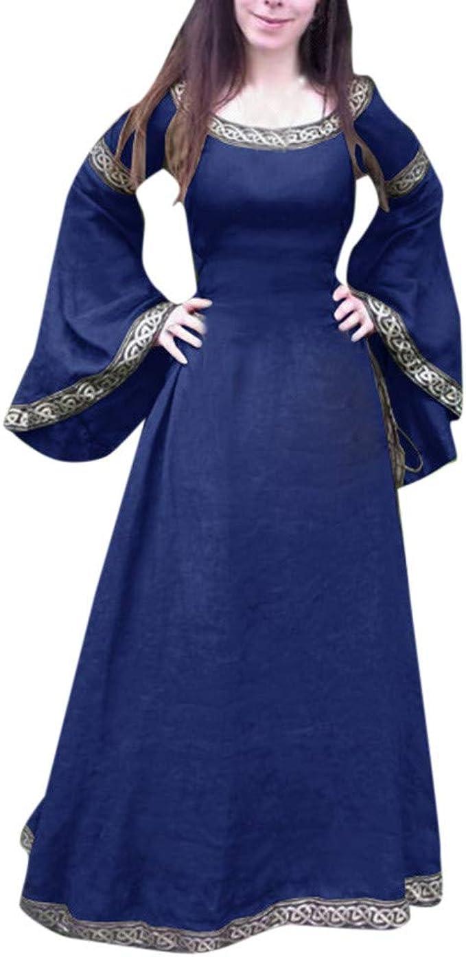 NPRADLA Abendkleider Lang Mittelalter Kleid Rockabilly Kleider Damen Frauen  Europäische Und Amerikanische Klassik Party Festliche Langarm Rundkragen