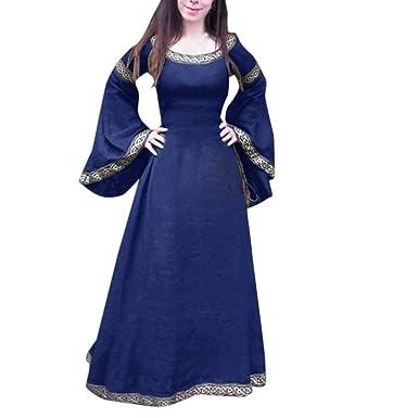 2f8e50fc062 LUBITY Robe Femme Grande Taille Europe et Amérique Fête MédiéVale Classique  à Manches Longues Autour du