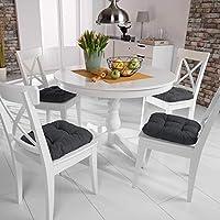 Beautissu Set de 4 Cojines para sillas Lisa 40x40x8 cm - Antracita - para sillas de jardín, sofás, Camas - Juego de Cojines con Relleno voluminoso y ...