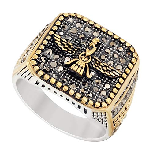 (Digital baby Men's Jewelry Stainless Steel Mazdaism Ahura Mazda Faravahar Symbol Ring Punk Rock Vintage Classics Persian Religious Rings Inlay Crystal CZ Stone - Silver & Gold & Black - by Mate Rings)