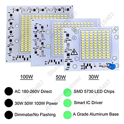 White 6500K, 50W : 2 x AC 220V LED Floodlight PCB SMD 5730 high power Aluminum lamp plate 30W/50W/100W driverless LED Panel 110lm/W for lamp lights