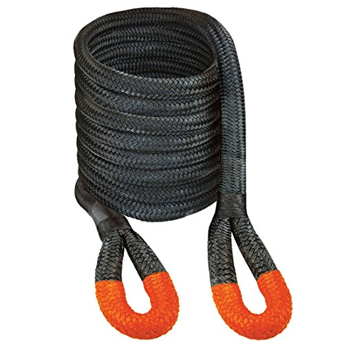 """VULCAN 1 1/4"""" x 30' Off-Road Double Braided Recovery Rope – 52300 lbs. Breaking Strength – Black, Orange"""