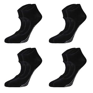 Vosarea 4 Calcetines de Yoga para Mujer Calcetines Antideslizantes con apretones Calcetines de Barre Calcetines de Pilates para Mujer (Negro): Amazon.es: ...