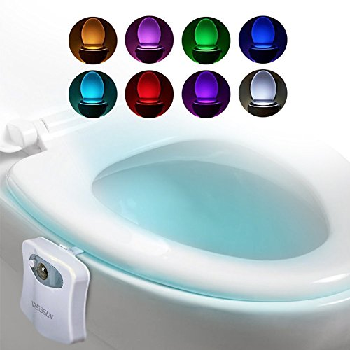 LED Motion Sensor Night Light 8 Color Changing For Toilet Seat, Bowl Motion Activated Toilet Glow Nightlight, Detection Motion Activated Sensor Toilet Bowl Night Light, 8 Colors Bowl Bathroom Night