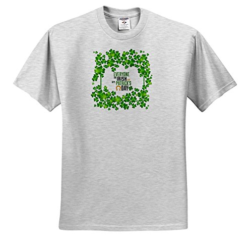 Price comparison product image 3dRose Uta Naumann Sayings and Typography - Ireland Holiday Motivational and Clover Frame - Everyone Is Irish - T-Shirts - Youth Birch-Gray-T-Shirt Med(10-12) (TS_275290_29)