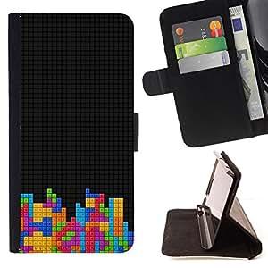 BullDog Case - FOR/HTC One M7 / - / Cool T3Tris Game Blocks /- Monedero de cuero de la PU Llevar cubierta de la caja con el ID Credit Card Slots Flip funda de cuer