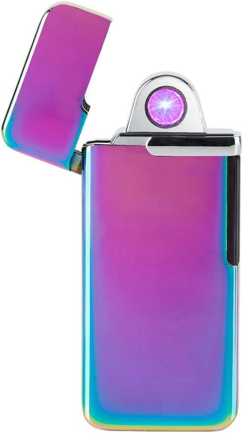 FLFIRAMER Electronic USB Lighter Windproof ARC Spin Plasma Rechargeable for Candle (Purple)