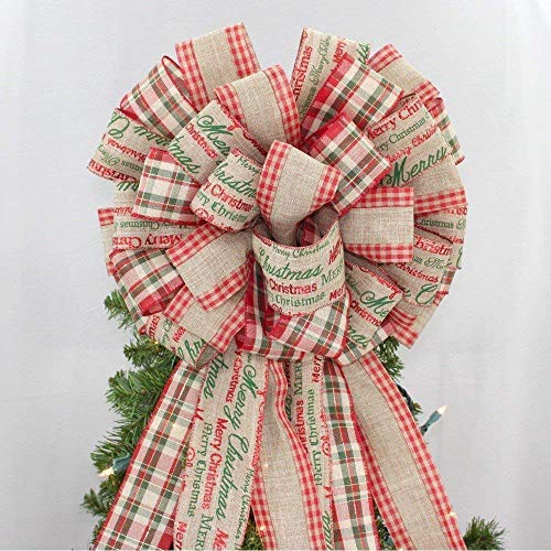 Merry Christmas Script Plaid Tree Bow Topper