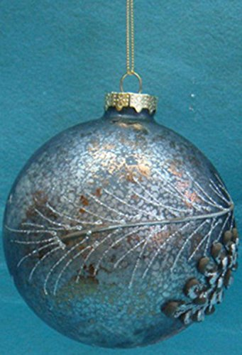 Sterling Silent Luxury Crackled Grey Ball With Pinecone Pattern Christmas Ornament 4'' (100mm) by Sterling (Image #1)