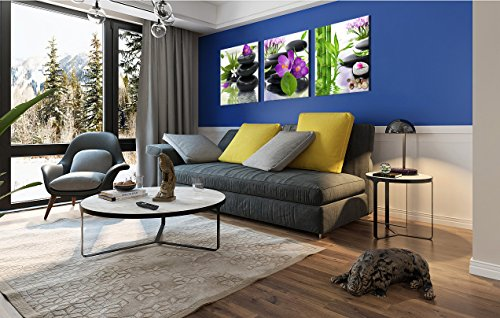3 Panel Modern Spa Bamboo Zen Stone Purple Flowers Photograph Canvas Painting for Home Wall Decorative by ModeArt (Image #2)